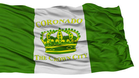 white wave: Isolated Coronado City Flag, City of California State, Waving on White Background, High Resolution