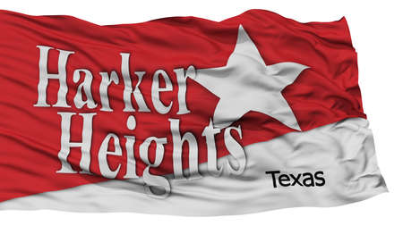 Isolated Harker Heights City Flag, City of Texas State, Waving on White Background, High Resolution