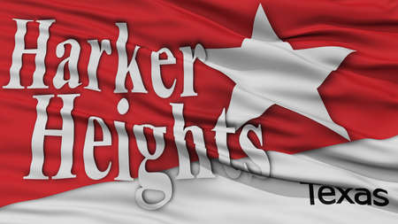 Closeup of Harker Heights City Flag, Waving in the Wind, Texas State, United States of America Stock Photo