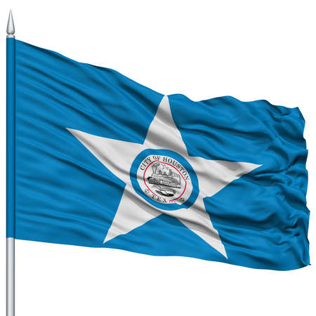 Houston City Flag on Flagpole, Texas State, Flying in the Wind, Isolated on White Background