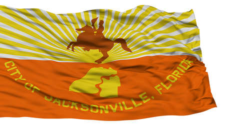 Isolated Jacksonville City Flag, City of Florida State, Waving on White Background, High Resolution Stock Photo
