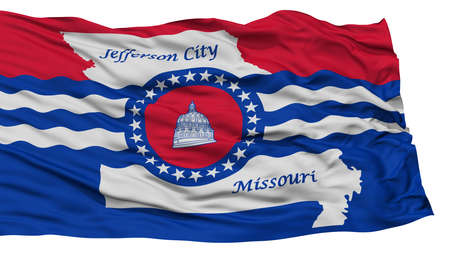 Isolated Jefferson City Flag, City of Missouri State, Waving on White Background, High Resolution