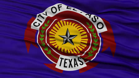 white wave: Closeup of El Paso City Flag, Waving in the Wind, Texas State, United States of America