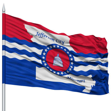 jefferson: Jefferson City Flag on Flagpole, Missouri State, Flying in the Wind, Isolated on White Background