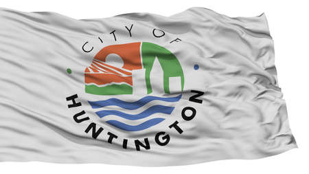 white wave: Isolated Huntington City Flag, City of West Virginia State, Waving on White Background, High Resolution