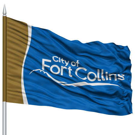 collins: Fort Collins City Flag on Flagpole, Colorado State, Flying in the Wind, Isolated on White Background