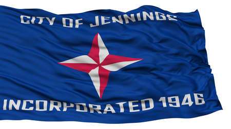 Isolated Jennings City Flag, City of Missouri State, Waving on White Background, High Resolution