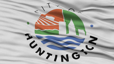 Closeup of Huntington City Flag, Waving in the Wind, West Virginia State, United States of America Stock Photo