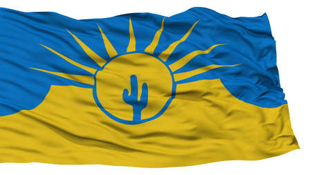 Isolated Mesa City Flag, City of Arizona State, Waving on White Background, High Resolution