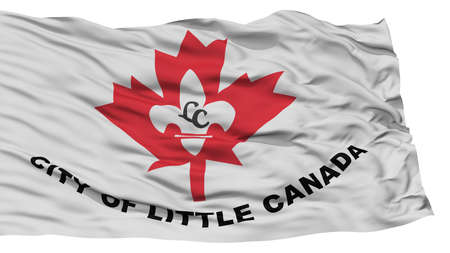 white wave: Isolated Little Canada City Flag, City of Minnesota State, Waving on White Background, High Resolution