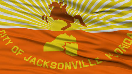 Closeup of Jacksonville City Flag, Waving in the Wind, Florida State, United States of America