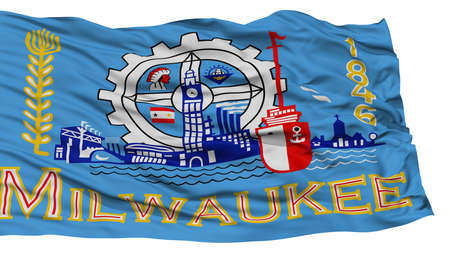 Isolated Milwaukee City Flag, City of Wisconsin State, Waving on White Background, High Resolution
