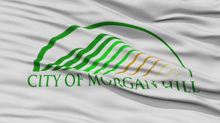 white wave: Closeup of Morgan Hill City Flag, Waving in the Wind, California State, United States of America