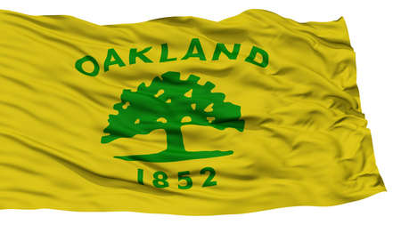 white wave: Isolated Oakland City Flag, City of California State, Waving on White Background, High Resolution
