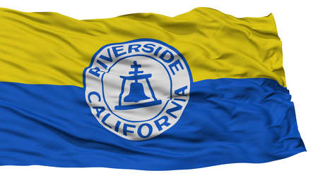 Isolated Riverside City Flag, City of California State, Waving on White Background, High Resolution Stock Photo