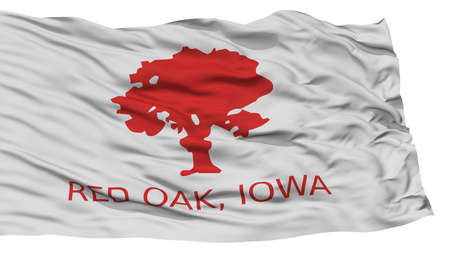 Isolated Red Oak City Flag, City of Iowa State, Waving on White Background, High Resolution