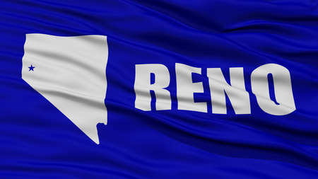 reno: Closeup of Reno City Flag, Waving in the Wind, Nevada State, United States of America
