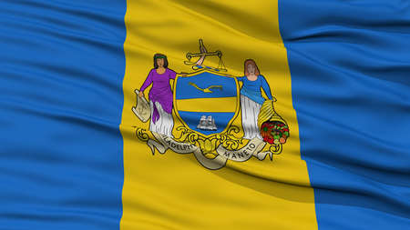 Closeup of Philadelphia City Flag, Waving in the Wind, Pennsylvania State, United States of America