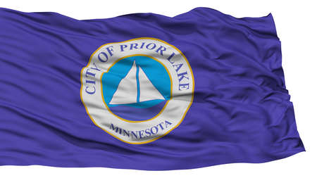 Isolated Prior Lake City Flag, City of Minnesota State, Waving on White Background, High Resolution