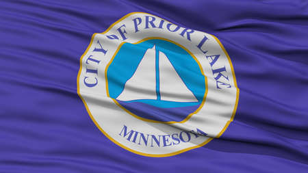 Closeup of Prior Lake City Flag, Waving in the Wind, Minnesota State, United States of America