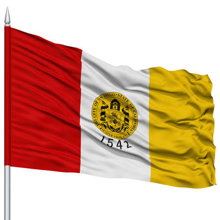San Diego City Flag on Flagpole, California State, Flying in the Wind, Isolated on White Background