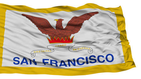 white wave: Isolated San Francisco City Flag, City of California State, Waving on White Background, High Resolution