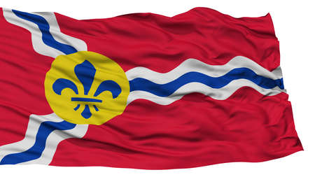 white wave: Isolated St. Louis City Flag, City of Missouri State, Waving on White Background, High Resolution
