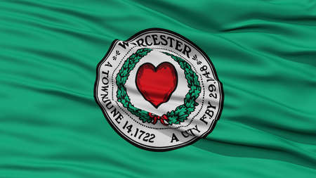 Closeup of Worcester City Flag, Waving in the Wind, Massachusetts State, United States of America