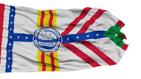 Isolated Tampa City Flag, City of Florida State, Waving on White Background, High Resolution