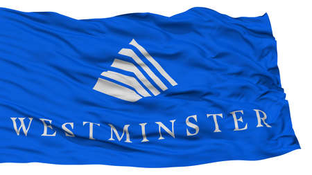 Isolated Westminster City Flag, City of Colorado State, Waving on White Background, High Resolution Stock Photo