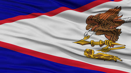 white wave: Closeup American Samoa Flag on Flagpole, USA state, Waving in the Wind, High Resolution Stock Photo