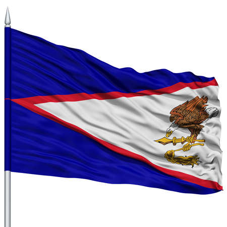 samoa: Isolated American Samoa Flag on Flagpole, USA state, Flying in the Wind, Isolated on White Background