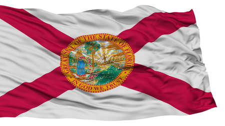 white wave: Isolated Florida Flag, USA state, Waving on White Background, High Resolution