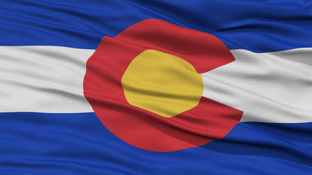 white wave: Closeup Colorado Flag on Flagpole, USA state, Waving in the Wind, High Resolution