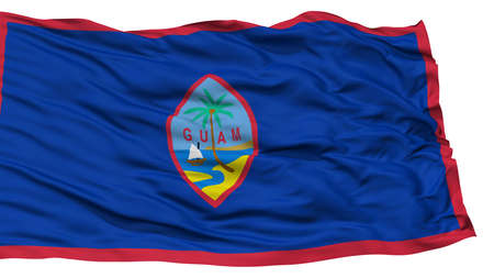 white wave: Isolated Guam Flag, USA state, Waving on White Background, High Resolution