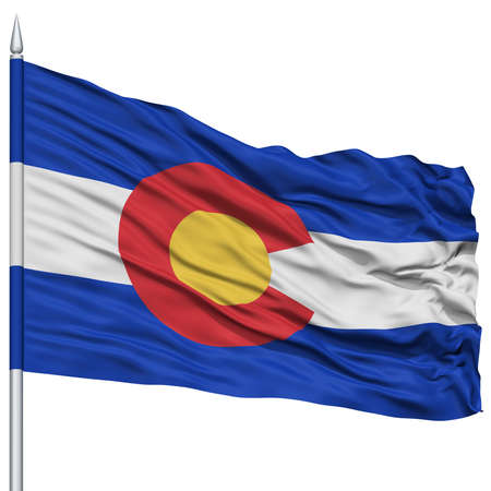 white wave: Isolated Colorado Flag on Flagpole, USA state, Flying in the Wind, Isolated on White Background Stock Photo