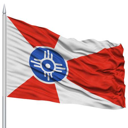 white wave: Wichita City Flag on Flagpole, Kansas State, Flying in the Wind, Isolated on White Background