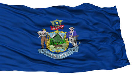 Isolated Maine Flag, USA state, Waving on White Background, High Resolution