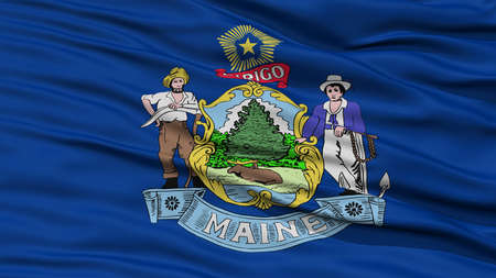 resolution: Closeup Maine Flag on Flagpole, USA state, Waving in the Wind, High Resolution