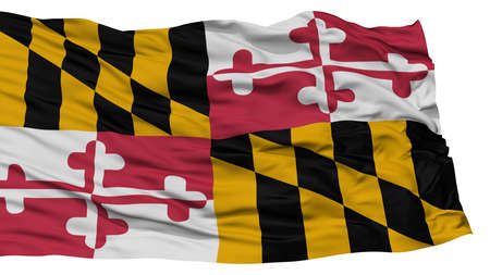 Isolated Maryland Flag, USA state, Waving on White Background, High Resolution