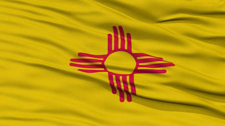 Closeup New Mexico Flag on Flagpole, USA state, Waving in the Wind, High Resolution