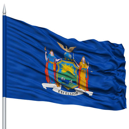 excelsior: Isolated New York Flag on Flagpole, USA state, Flying in the Wind, Isolated on White Background