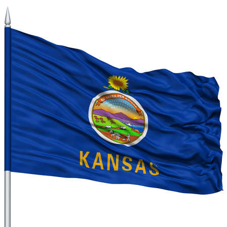 white wave: Isolated Kansas Flag on Flagpole, USA state, Flying in the Wind, Isolated on White Background Stock Photo