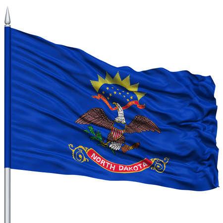 white wave: Isolated North Dakota Flag on Flagpole, USA state, Flying in the Wind, Isolated on White Background