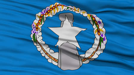 Closeup Northern Mariana Islands Flag on Flagpole, USA state, Waving in the Wind, High Resolution