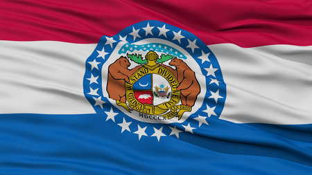 white wave: Closeup Missouri Flag on Flagpole, USA state, Waving in the Wind, High Resolution