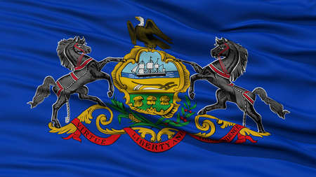 Closeup Pennsylvania Flag on Flagpole, USA state, Waving in the Wind, High Resolution
