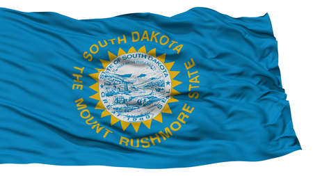 Isolated South Dakota Flag, USA state, Waving on White Background, High Resolution Stock Photo