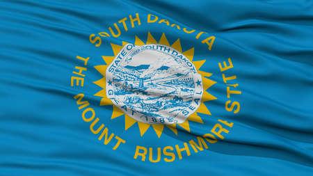 Closeup South Dakota Flag on Flagpole, USA state, Waving in the Wind, High Resolution