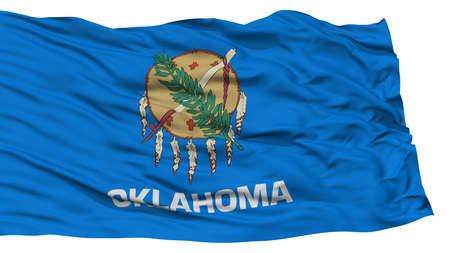 oklahoma: Isolated Oklahoma Flag, USA state, Waving on White Background, High Resolution